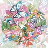 Schönes Blumenmuster des Aquarells mit Schmetterlingen lizenzfreie abbildung