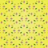 Schönes Blumenmuster: Rosa- und Grünblätter, Schwarzspirale auf einem hellen gelben Hintergrund Stockbild