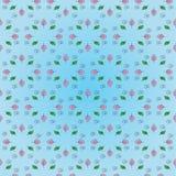 Schönes Blumenmuster: Rosa- und Grünblätter, Schwarzspirale auf einem leichten blauen Hintergrund Stockfotografie