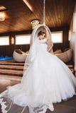 Schönes Braut-Porträthochzeitsmake-up, Frisur Lizenzfreies Stockfoto