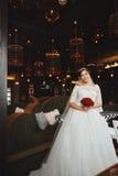 Schönes Braut-Porträthochzeitsmake-up, Frisur Stockfoto