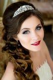Schönes Brunette Brautporträthochzeitsmake-up und -frisur mit Diamanten krönen Stockfotos