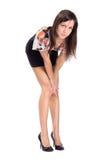 Schönes Brunettemädchen, das im Studio aufwirft Lizenzfreies Stockfoto