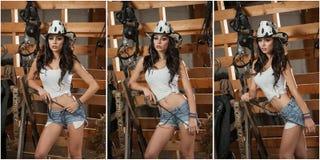 Schönes Brunettemädchen mit Landblick, schoss zuhause in der stabilen, rustikalen Art Attraktive Frau mit Cowboyhut, Denimkurze h Stockbilder