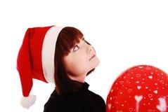 Schönes Brunetteweihnachtssankt-Mädchen. lizenzfreies stockbild