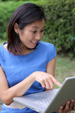 Schönes chinesisches Mädchen überraschte über Laptop lizenzfreie stockfotos