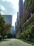 Schönes cityview in Singapur Hängende Gärten auf den Wolkenkratzern stockbild