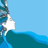 Schönes Damenschattenbild auf einem gewellten Hintergrund Lizenzfreie Stockfotos
