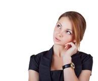 Schönes Denken der jungen Frau Lizenzfreie Stockbilder