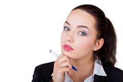 Schönes Denken der jungen Frau Lizenzfreies Stockbild