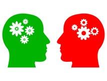 Schönes Design von zwei Köpfen mit verschiedenen Arten des Denkens stock abbildung