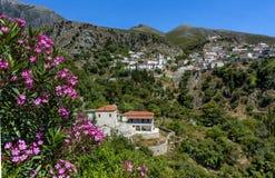 Schönes Dhermi-Bergdorf mit blühendem Oleander im Vordergrund, Albanien lizenzfreies stockfoto