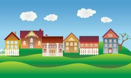 Schönes Dorf oder Nachbarschaft Lizenzfreie Stockbilder