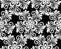 Schönes einfarbiges Schwarzweiss-nahtloses mit Blumenmuster Lizenzfreie Stockfotografie