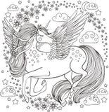 Schönes Einhorn mit Blumen und Sternen Lizenzfreies Stockfoto