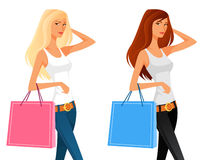 Schönes Einkaufen des jungen Mädchens Lizenzfreie Stockfotos