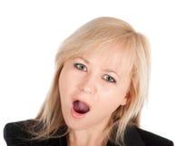 Schönes europäisches junges Geschäftsfrauporträt getrennt über einem weißen Hintergrund Stockfotografie