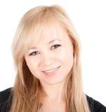 Schönes europäisches junges Geschäftsfrauporträt getrennt über einem weißen Hintergrund Stockbild