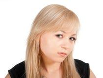 Schönes europäisches junges Geschäftsfrauporträt lokalisiert über einem weißen Hintergrund Lizenzfreies Stockfoto