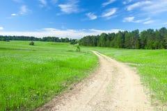 Schönes Feld und Straße Stockbild