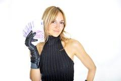 Schönes Frauen-Holding-Geld Lizenzfreies Stockbild