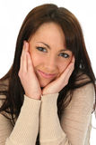 Schönes Frauen-Holding-Gesicht Stockbild