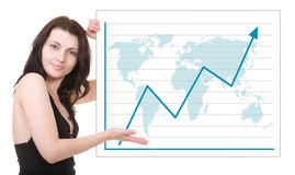 schönes Frauenerscheinen auf dem Diagramm Stockfotos