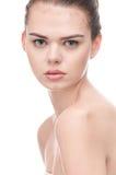 Schönes Frauengesicht mit vollkommener Haut lizenzfreies stockbild