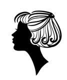Schönes Frauenschattenbild mit stilvoller Frisur Stockbild