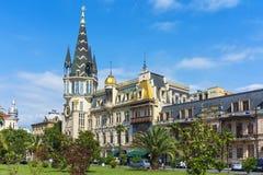 Schönes Gebäude der astronomischen Uhr in der Stadt von Batumi in GE Stockbild
