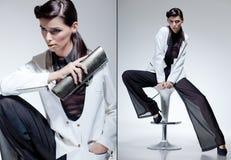 Schönes gekleidetes elegantes der Frau Baumuster Stockfoto