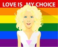 Schönes gelocktes blondes Mädchen mit LGBT-T-Shirt Homosexuelle und Lesbenpaarvektorillustration Sloganliebe ist meine Wahl und Lizenzfreie Stockfotos