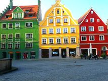 Schönes gemaltes Haus in Memmingen Stockfotografie