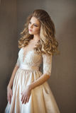 Schönes gemaltes Mädchen in einem Kleid stockfotografie