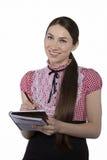 Schönes Geschäftsfraulächeln Stockfoto
