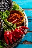 Schönes geschmackvolles appetitanregendes Bestandteil-Gewürz-Lebensmittelgeschäft für Cookin Stockfoto