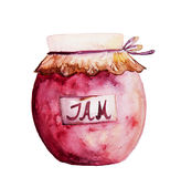 Schönes geschmackvolles appetitanregendes Stau-Glas mit roter Frucht-Marmelade Handabgehobener betrag Stockfotos