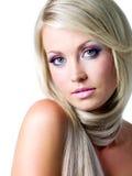 Schönes Gesicht der blonden Frau Stockbilder