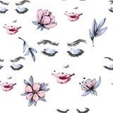 Schönes Gesicht der Frau mit geschlossenen Augen und rosa Blumen mit nahtlosem mit Blumenmuster der Blätter lizenzfreie abbildung