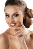 Schönes Gesicht der jungen erwachsenen Frau mit sauberer frischer Haut Lizenzfreies Stockfoto