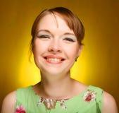 Schönes Gesicht der jungen Frau Abschluss oben Stockfotografie