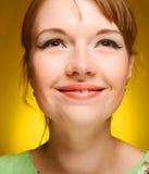 Schönes Gesicht der jungen Frau. Abschluss oben. Lizenzfreies Stockbild