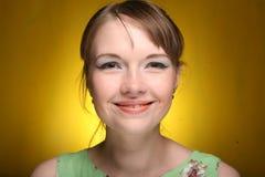Schönes Gesicht der jungen Frau. Abschluss oben. Lizenzfreies Stockfoto