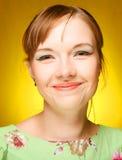 Schönes Gesicht der jungen Frau Abschluss oben Lizenzfreies Stockfoto