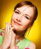 Schönes Gesicht der jungen Frau Abschluss oben Stockbilder