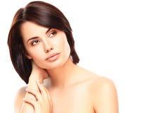 Schönes Gesicht der jungen Frau mit sauberer frischer Haut Lizenzfreies Stockbild