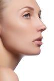 Schönes Gesicht der jungen Frau mit sauberer frischer Haut Porträt der schönen jungen Frau mit schönen blauen Augen und Gesicht Stockbild