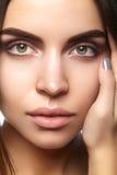 Schönes Gesicht der jungen Frau Skincare, Wellness, Badekurort Säubern Sie weiche Haut, gesunden neuen Blick Natürliches tägliche Lizenzfreies Stockbild