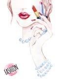 Schönes Gesicht des Aquarells Frauenporträt mit Lippenstift vektor abbildung