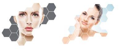 Schönes Gesicht des jungen und gesunden Mädchens in der Collage Plastische Chirurgie, Hautpflege, Kosmetik und Face lifting-Konze lizenzfreie stockfotografie
